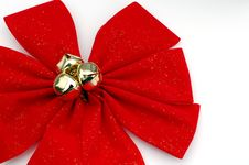 Soft Red Christmas Bow Stock Image
