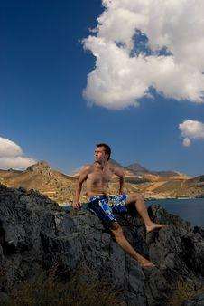 Free Man Relaxing In Mountains Stock Images - 3491494