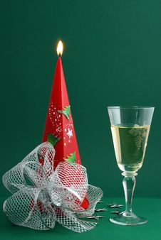 Free Wine With Candle Decoration Stock Image - 3491601