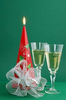 Free Wine With Candle Decoration Royalty Free Stock Image - 3491606