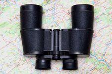 Free Binoculars And Map Stock Photography - 3492082