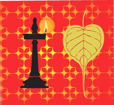 Free Banyan Leaf With Ethnic Lamp Royalty Free Stock Photos - 3493968