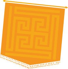 Free Old Message Flag With Quilt Stock Image - 3494011