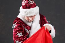 Free Christmass-bag And Santa Royalty Free Stock Image - 3494496