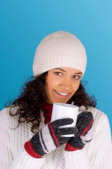 Winter Girl Drinking Tea Stock Photos
