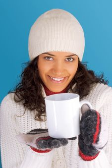 Winter Girl Drinking Tea Royalty Free Stock Images