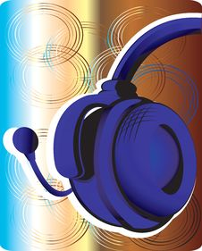 Free Blue Head Phone On Abstractive Royalty Free Stock Image - 3495676