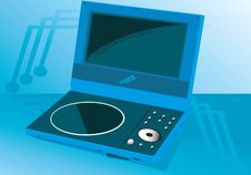 Free Portable DVD Player On A Blue Royalty Free Stock Photos - 3495678