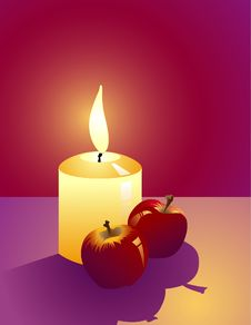 Free Candle And Apples Royalty Free Stock Photography - 3496047