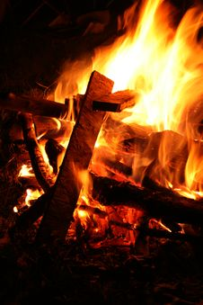 Burning Campfire Royalty Free Stock Images