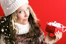 Free Beautiful Woman With A Gift Stock Photos - 3498323