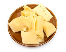 Free Cheese On A Brown Plate Stock Images - 3499584