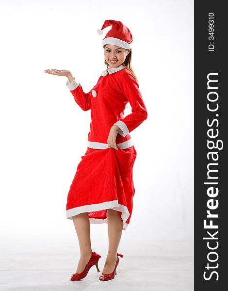 Cute santa with left hand out