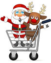 Free Santa Claus And Reindeer In Shopping Cart Royalty Free Stock Image - 34905196