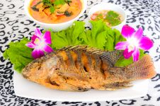 Tilapia Fish Fried In The Dish Stock Images