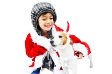 Free Little Santa With Dog Reindeer Royalty Free Stock Photos - 34900658