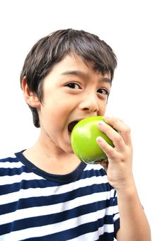 Free Little Boy Eating Green Apple Stock Photos - 34900673