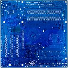 Blue Circuit Board Of Computer Stock Images
