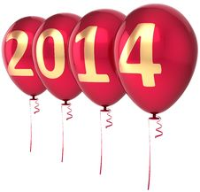 Free Happy New Year 2014 Balloons Party Decoration Stock Photos - 34904823
