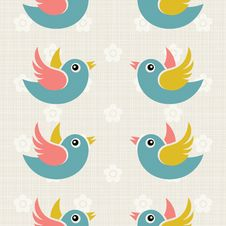 Free Fabric Background With Cute Birds Stock Images - 34909614