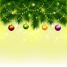 Free Background With Christmas Tree And Balls Stock Photo - 34914010