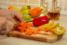 Free Cutting Carrots On A Cutting Board Stock Photos - 34919993