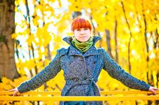 Free Woman In A Coat Walks Stock Photography - 34927802