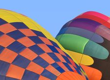 Two Hot Air Balloons Inflating. Royalty Free Stock Photography