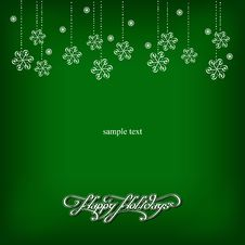 Free Green Background With Snowflakes Royalty Free Stock Images - 34929659