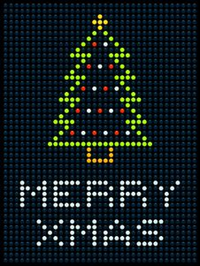 Free Christmas Tree On An LED Display Royalty Free Stock Photos - 34936498