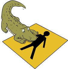 Free Crocodile Beware Sign Royalty Free Stock Photography - 34938157