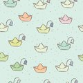 Free Seamless Childish Pattern With Paper Boats On The Stock Photography - 34949482