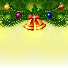 Free Background With Christmas Tree, Bells And Balls Royalty Free Stock Photo - 34945685