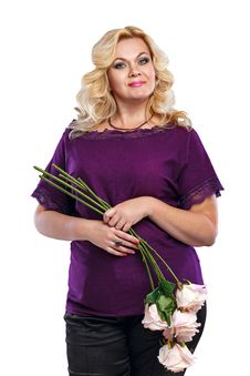 Free Blonde Lady With A Bouquet Of Flowers Stock Photography - 34946512