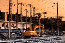 Free Railway Construction Site In Sunset Royalty Free Stock Photos - 34947058