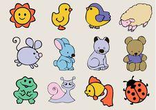 Funny Animals Kit Stock Image