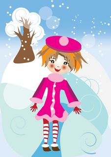 Winter Card With Girl Royalty Free Stock Images