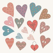 Free Cartoon Design Hearts Set Stock Photography - 34949562