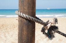 Free Nautical Rope Tied To A Pole Stock Photos - 34950263