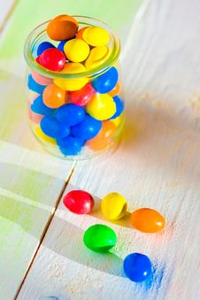 Free Colored Candy In Glass Jar Stock Images - 34950664