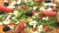 Vegetarian Pizza Close-up Stock Photo