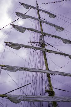 Free Furled Sails On The Ship Royalty Free Stock Image - 34958796