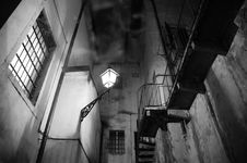 Free Spooky Night Scene With Street Light, Stairs And Smoke Royalty Free Stock Photos - 34961898
