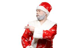 Free Santa Claus Shows His Hand To The Left, A White Background Stock Images - 34962344