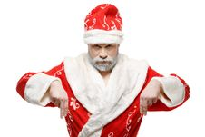 Free Santa Claus Shows His Hands Down, White Background Stock Photography - 34962422