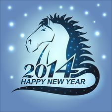 Free Horse With Stars As A Symbol Of 2014 Stock Image - 34968511