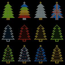Free 12 Christmas Trees In LED Dots Royalty Free Stock Image - 34968906