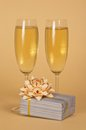 Free Wine Glasses With Champagne And Beautiful Gift Box Stock Photo - 34977980