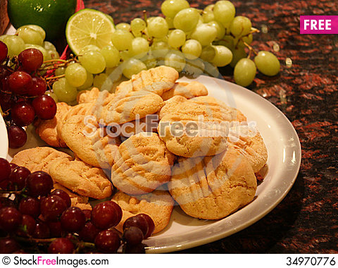 Free Cookies With Grapes And Fruit Royalty Free Stock Image - 34970776