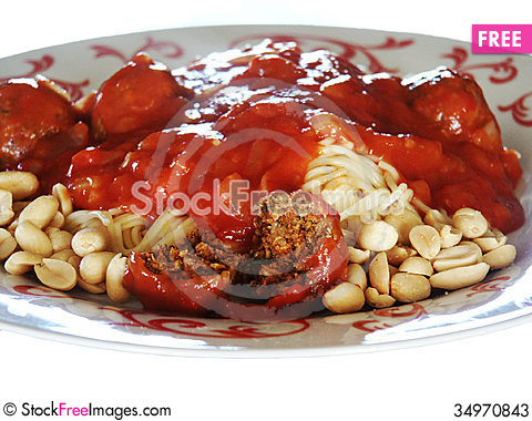 Free Pasta With Tomato Sauce And Meat Balls Stock Photos - 34970843